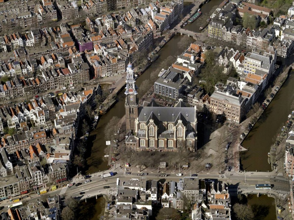 Aerial View Of The Westerkerk And Canals of Amsterdam, Netherlands