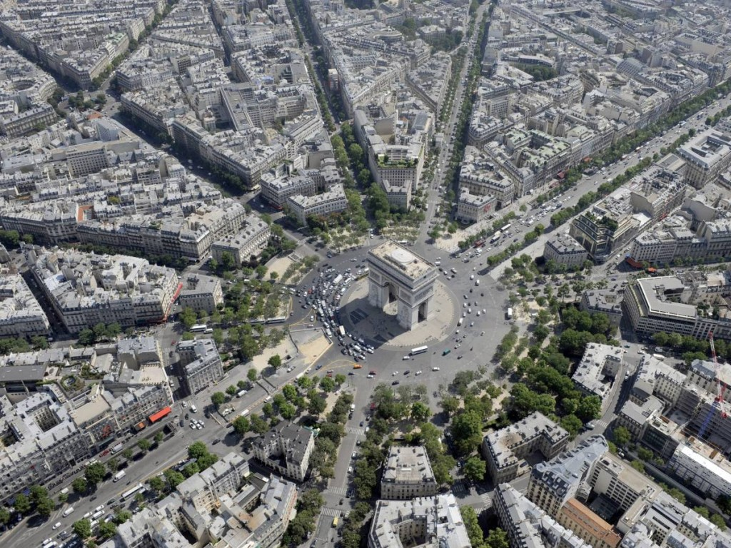 Helicopter Shot Of The Arc De Triomphe, Paris, France