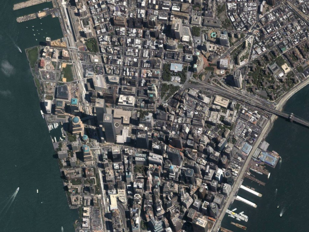 Satellite Image Of Manhattan, New York City, New York, United States
