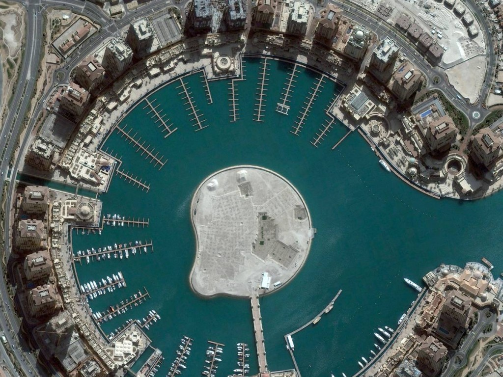 Satellite Image Of The Pearl, Doha, Qatar