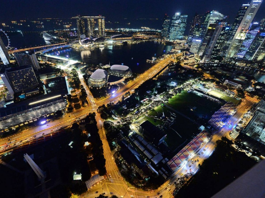 Speeding Over The Formula One Singapore Grand Prix At Night